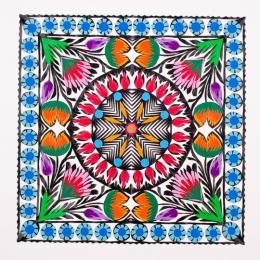 Wycinanka kwadratowa z kolorowym motywem kwiatów - wzór łowicki