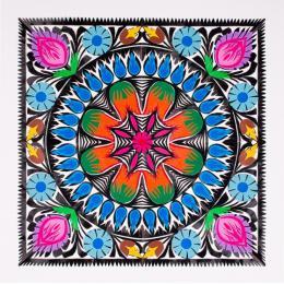 Wycinanka z kolorowym motywem kwiatowym - wzór łowicki