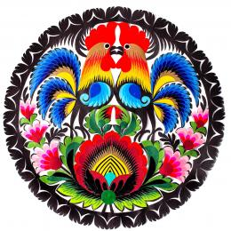 Wycinanka łowicka - 23x23 cm - dwa koguty i duży kwiat czerwony