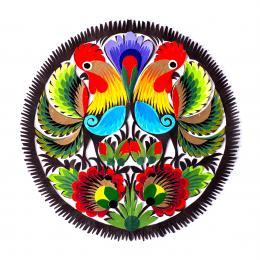 Wycinanka łowicka - 15x15 cm - dwa koguty odwrócone i kwiaty czerwone