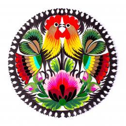 Wycinanka łowicka - 15x15 cm - dwa koguty i różowy kwiat na dole