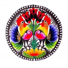 Wycinanka łowicka - 15x15 cm - dwa koguty i czerwone tulipany na górze