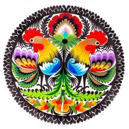 Wycinanka łowicka - 23x23 cm - dwa koguty odwrócone od siebie i duży kolorowy kwiat na górze