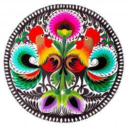 Wycinanka łowicka - 23x23 cm - dwa koguty i dwa fioletowe kwiatki na dole
