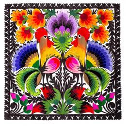 Wycinanka łowicka - 23x23 cm - dwa koguty i duży fioletowy kwiat na górze