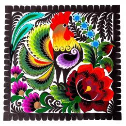 Wycinanka łowicka - 23x23cm - kogut i duży czerwony kwiat na dole
