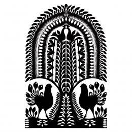 Duża wycinanka kurpiowska leluja - wzór 12 - czarna