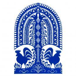 Duża wycinanka kurpiowska leluja - wzór 8 - niebieska