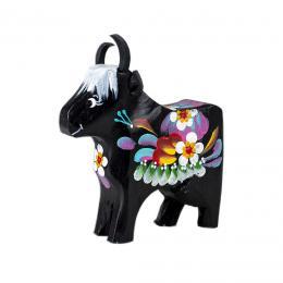 Krówka rzeźbiona - czarna w kwiaty