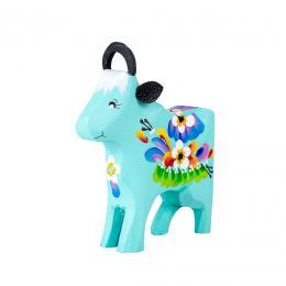 Krówka rzeźbiona - niebieska w kwiaty
