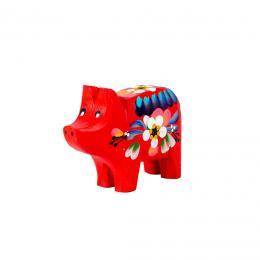 Świnka rzeźbiona - czerwona w kwiaty