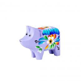Świnka rzeźbiona - fioletowa w kwiaty