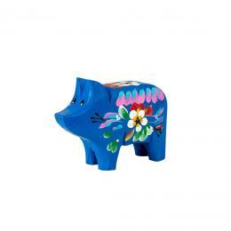Świnka rzeźbiona - granatowa w kwiaty