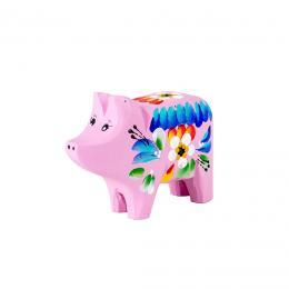 Świnka rzeźbiona - różowa w kwiaty