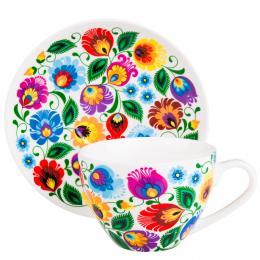 FOLK filiżanka Irenka – ludowe kwiaty z łowickiej wycinanki - biała