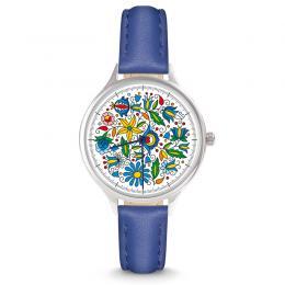 Zegarek damski - kaszubski - pasek skórzany - niebieski