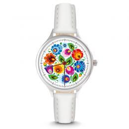 Zegarek damski - łowicki biały - pasek skórzany - biały