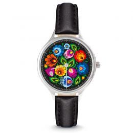 Zegarek damski - łowicki czarny - pasek skórzany - czarny