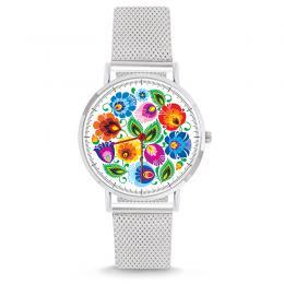 Zegarek - łowicki biały - na bransolecie