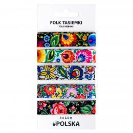 Zestaw ozdobnych tasiemek prezentowych FOLK - 5 x 1,5 m