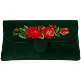 Zielona kopertówka z haftowanymi czerwonymi różami